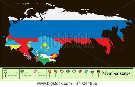 Vector Map Of The Commonwealth Of Independent State (cis) With The Russian Crimea. Set Creative Mark