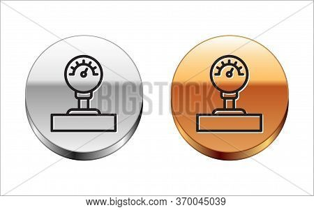 Black Line Gauge Scale Icon Isolated On White Background. Satisfaction, Temperature, Manometer, Risk