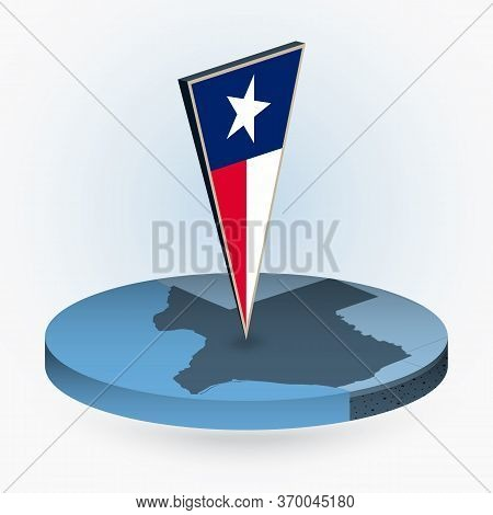 Texas Map In Round Isometric Style With Triangular 3d Flag Of Us State Texas, Vector Map In Blue Col