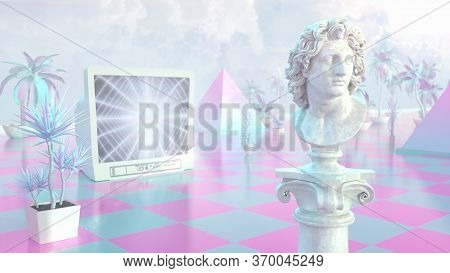Aesthetic Vaporwave Statue With Retro Crt Tv And Mall Palm Plants 3d Rendering - Abstract Background