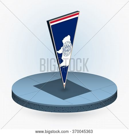 Wyoming Map In Round Isometric Style With Triangular 3d Flag Of Us State Wyoming, Vector Map In Blue