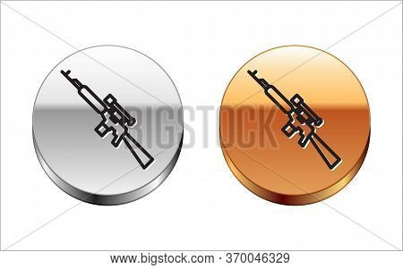Black Line Sniper Rifle With Scope Icon Isolated On White Background. Silver-gold Circle Button. Vec