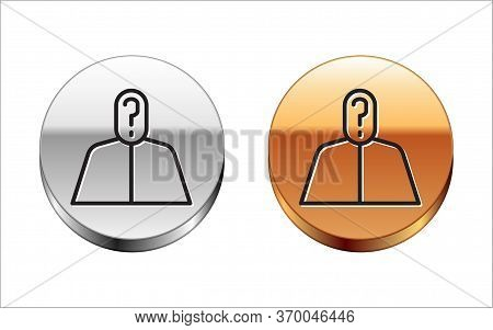 Black Line Anonymous Man With Question Mark Icon Isolated On White Background. Unknown User, Incogni