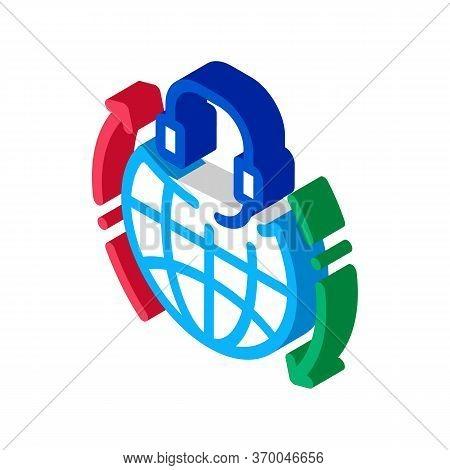 Global Help Desk Hotline Icon Vector. Isometric Global Help Desk Hotline Sign. Color Isolated Symbol