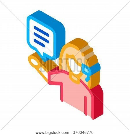 Woman Verbal Help By Phone Icon Vector. Isometric Woman Verbal Help By Phone Sign. Color Isolated Sy