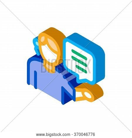 Help Desk Representative Icon Vector. Isometric Help Desk Representative Sign. Color Isolated Symbol