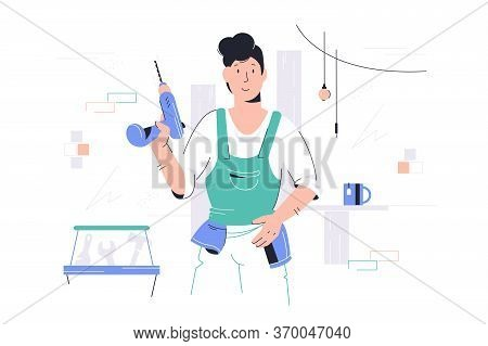 Repairman With Drill Vector Illustration. Repairer In Boilersuit Holding Perforator Flat Style Desig
