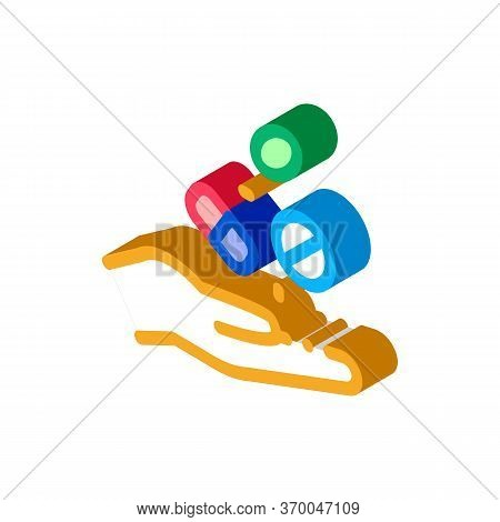 Medical Drugs In Hand Icon Vector. Isometric Medical Drugs In Hand Sign. Color Isolated Symbol Illus