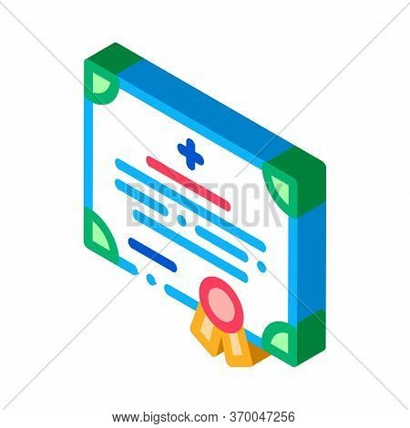Medical Certificate Of Nurse Degree Icon Vector. Isometric Medical Certificate Of Nurse Degree Sign.