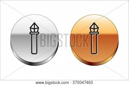 Black Line Magic Staff Icon Isolated On White Background. Magic Wand, Scepter, Stick, Rod. Silver-go