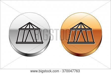 Black Line Circus Tent Icon Isolated On White Background. Carnival Camping Tent. Amusement Park. Sil
