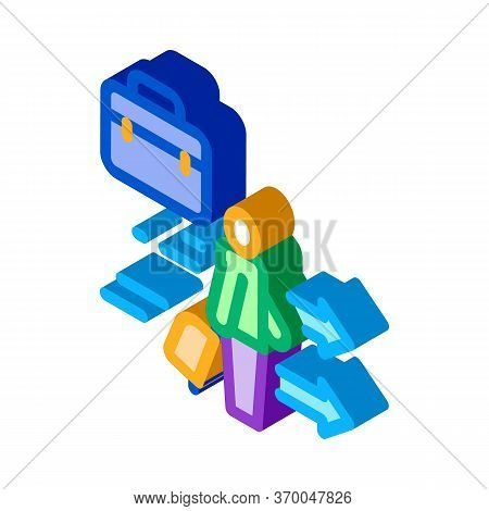 Man With Business Suitcase Icon Vector. Isometric Man With Business Suitcase Sign. Color Isolated Sy
