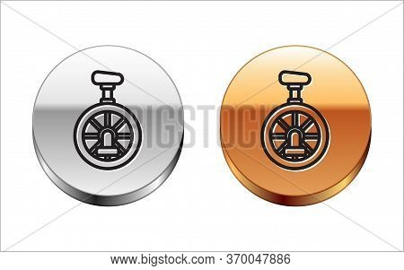 Black Line Unicycle Or One Wheel Bicycle Icon Isolated On White Background. Monowheel Bicycle. Silve