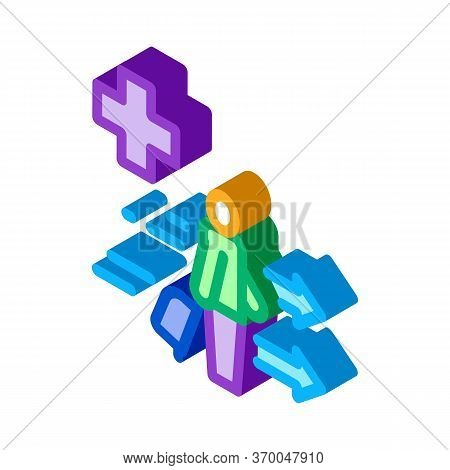 Medical Assistance To Tourist With Suitcase Icon Vector. Isometric Medical Assistance To Tourist Wit