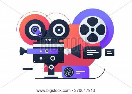 Video Camcorder Structure Vector Illustration. Video Shooting Process On Videotape Flat Style Design