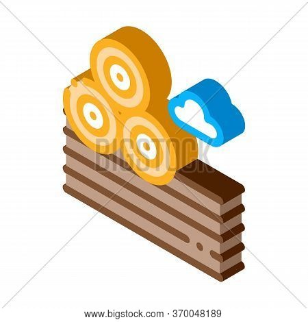 Haystacks On Ground Icon Vector. Isometric Haystacks On Ground Sign. Color Isolated Symbol Illustrat