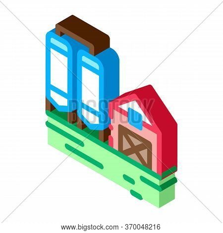 Dairy Farm Icon Vector. Isometric Dairy Farm Sign. Color Isolated Symbol Illustration
