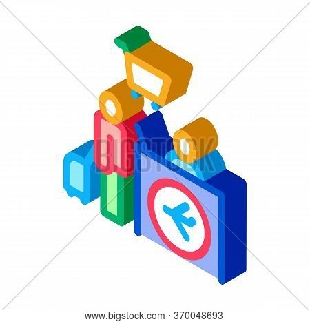 Man With Suitcase At Checkout Duty Free Icon Vector. Isometric Man With Suitcase At Checkout Duty Fr