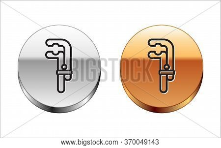 Black Line Clamp Tool Icon Isolated On White Background. Locksmith Tool. Silver-gold Circle Button.