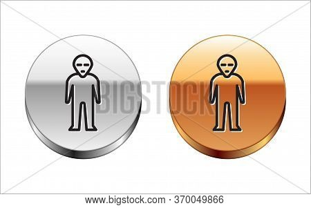 Black Line Alien Icon Isolated On White Background. Extraterrestrial Alien Face Or Head Symbol. Silv