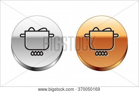 Black Line Egg In Hot Pot Icon Isolated On White Background. Boiled Egg. Happy Easter. Silver-gold C