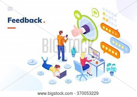 Feedback And Customer Survey, Review And Opinion, Vector Isometric Concept. Customer Feedback Review