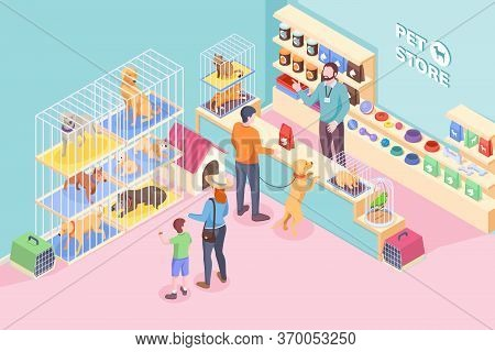 Pet Shop Cats And Dogs, Animals And Veterinary Store, Vector Isometric Design. People Buying Food An