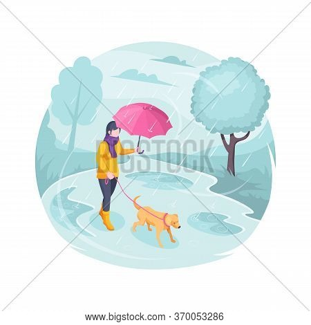 Pet Walking In Rain, Woman With Dog, Vector Isometric Flat Illustration. Girl With Dog On Leash Walk