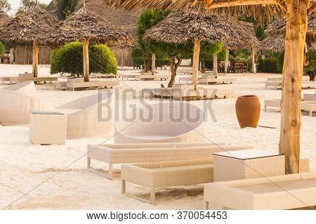 The Round Armchairs On The Beach, Tanzania, Arrica