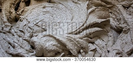 Gypsum Plaster In A Bucket, Prepared For Application On The Wall. Beautiful Texture.