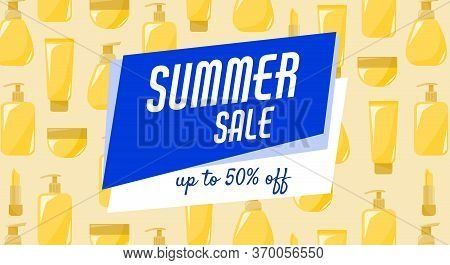 Ad Of Summer Sale Sunblock Cosmetics Products. Poster For Print
