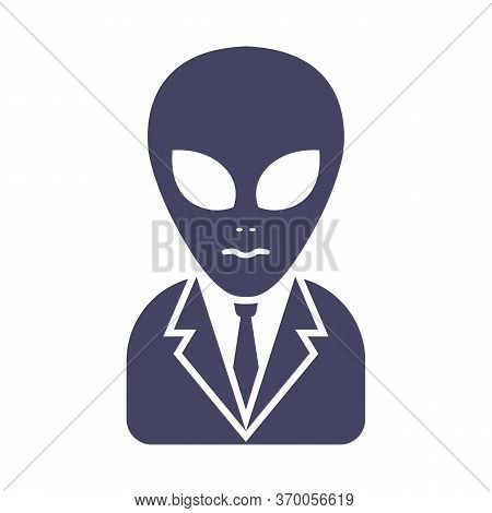 Icon Of An Alien In A Suit On A White Background. Conspiracy Masons Theory. Flat Character Vector Il