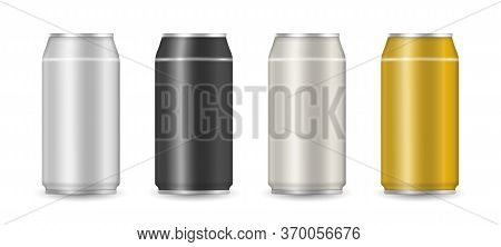 Set Of Realistic Colorful Aluminum Drink Cans. Aluminum Can With Soda Or Juice Isolated On Transpare
