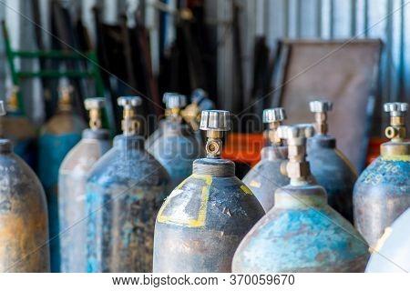 Acetylene And Oxigen Gas Steel Storage Tanks For Welding.
