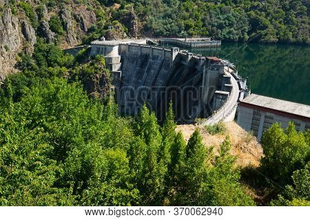 Dam Of Energy Power Station At Sil River. Galicia, Spain