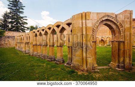 Inner Courtyard Of Monastery Of San Juan De Duero At Soria. Spain