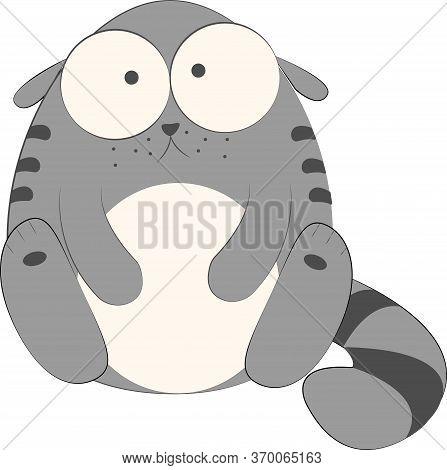 Surprised And Sad Cat Cartoon Vector Illustration, Grey Kitty Cartoon. Funny Fat Cat Drawing, Eps Il