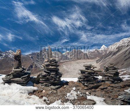 View Of Khumbu Glacier From Chukhung Ri Peak In Sagarmatha National Park, Nepal Himalaya. Chukhung R