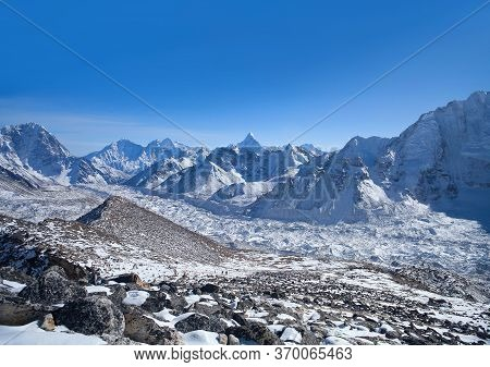 View Of Khumbu Glacier View And Himalaya Mountain Landscape From Kala Patthar Peak In Sagarmatha Nat