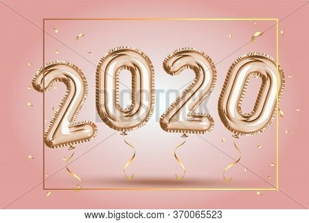 Happy New Year 2020 Frame. Gold Foil Balloons Numeral 2020 And Confetti On Pink Background. Elegant