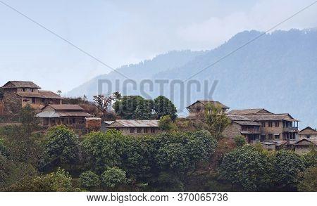 View Of Ghandruk, Biggest Village Of Gurungs In Annapurna Conservation Area, Nepal. Trekking In The