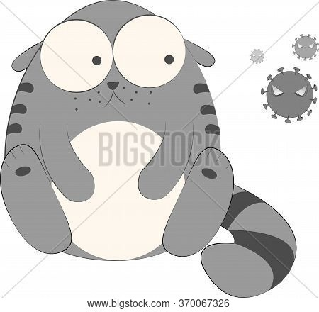 Surprised And Sad Cat Character And Coronavirus Vector Illustration, Kitty Cartoon. Funny Fat Cat Dr