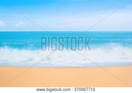 Sea View From Tropical Beach With Sunny Sky. Summer Paradise Beach Of Phuket Island. Tropical Sea In