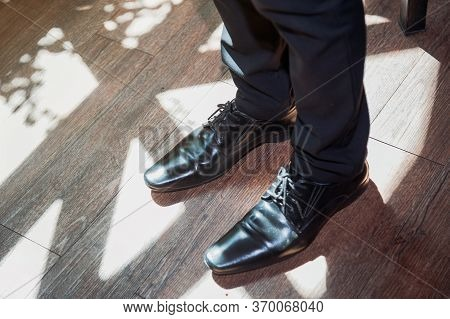 Men's Fashion Leather Vintage Shoes. Classic Male Black Leather Shoes, Top View. A Pair Of Black Lea