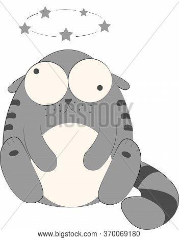 Dizzy Cat Cartoon Character Vector Illustration, Grey Kitty Cartoon. Funny Fat Cat Drawing, Eps Illu