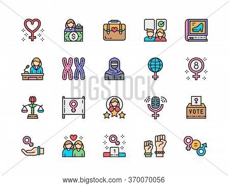 Set Of Feminism Color Line Icons. Female Protest, Salary, Chromosomes And More.