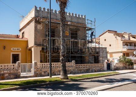 Torre De La Horadada, Valenciana, Spain - June 03 2020 : House Being Restored To Original By Local B