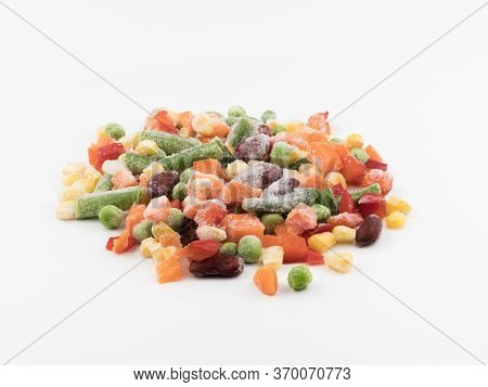 Frozen Vegetables On A White Background. Mexican Blend.