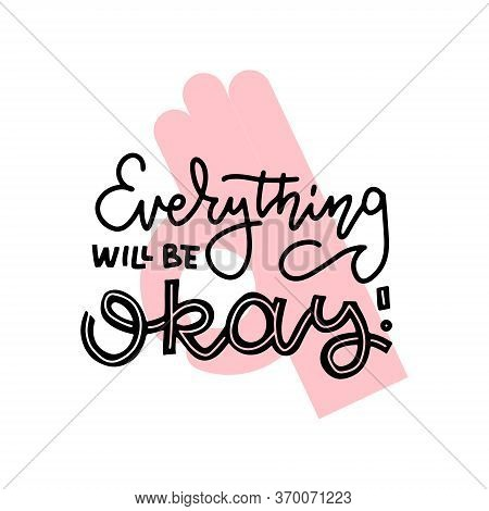 Covid-19 Prevention Cute Hand Drawn Sticker, Coronavirus Quarantine Concept. Lettering Doodle Phrase