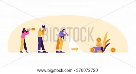 Business Man With Team Are Looking For Business Success And Path To Goal Concept Vector Flat Illustr